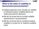 what is the state of usability in government procurements