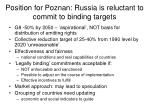 position for poznan russia is reluctant to commit to binding targets