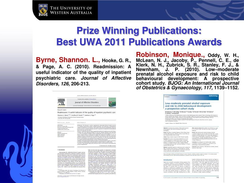 Prize Winning Publications: