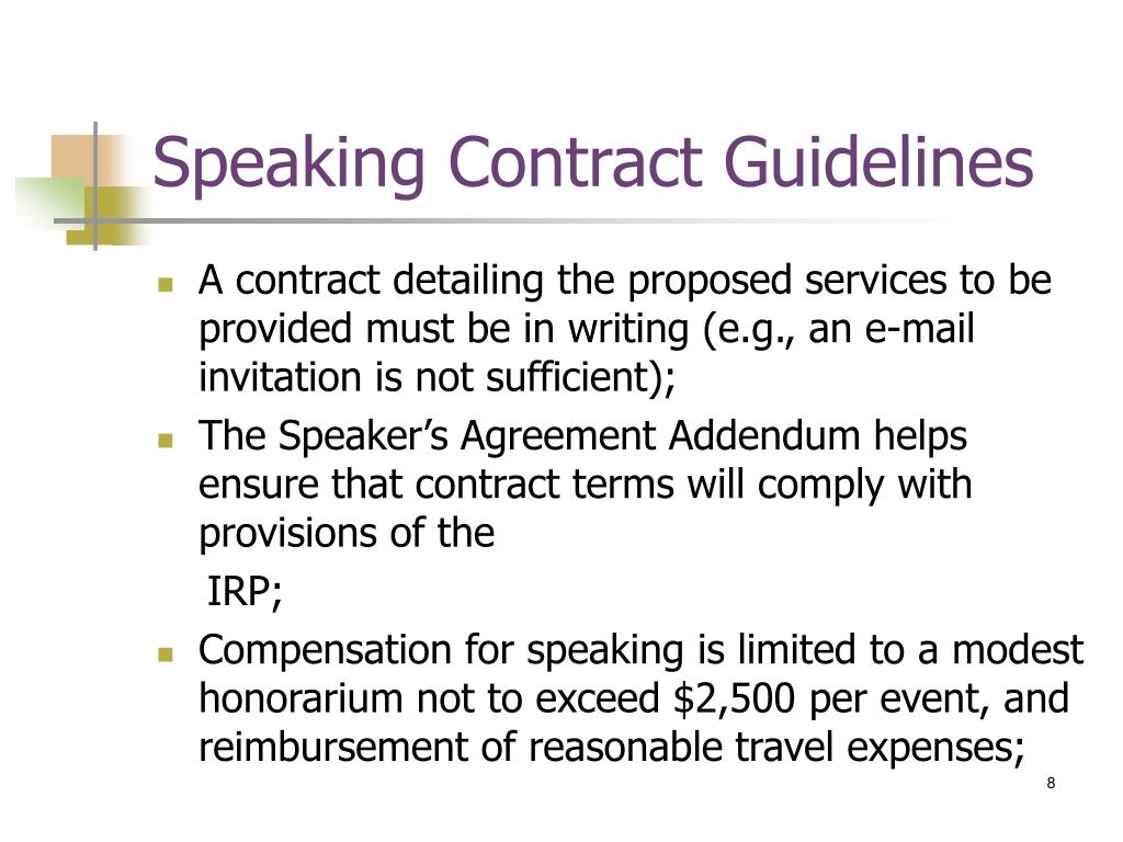 Speaking Contract Guidelines