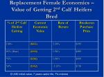 replacement female economics value of getting 2 nd calf heifers bred