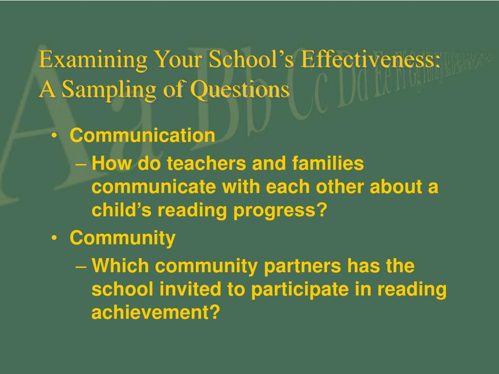 Examining Your School's Effectiveness: