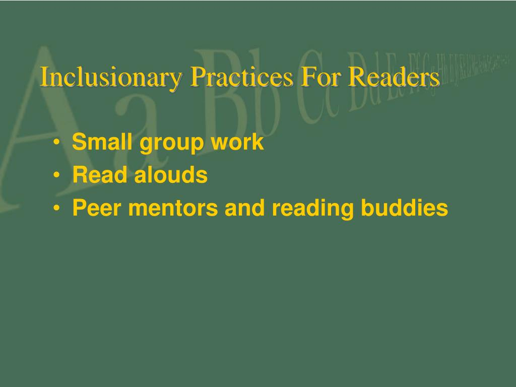 Inclusionary Practices For Readers