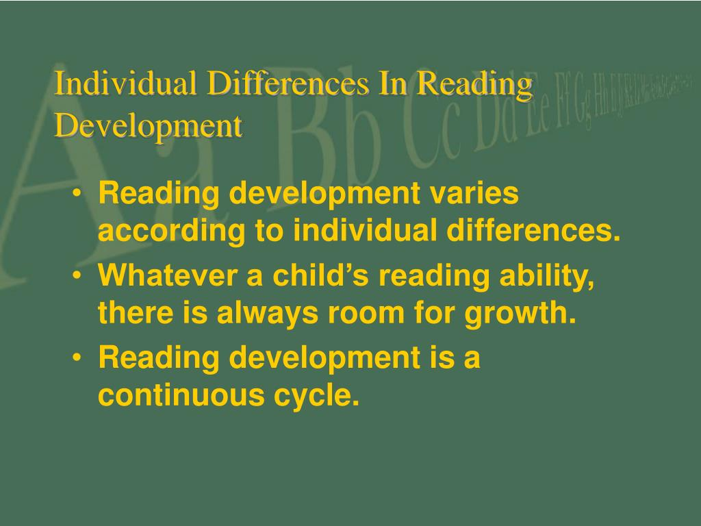Individual Differences In Reading Development