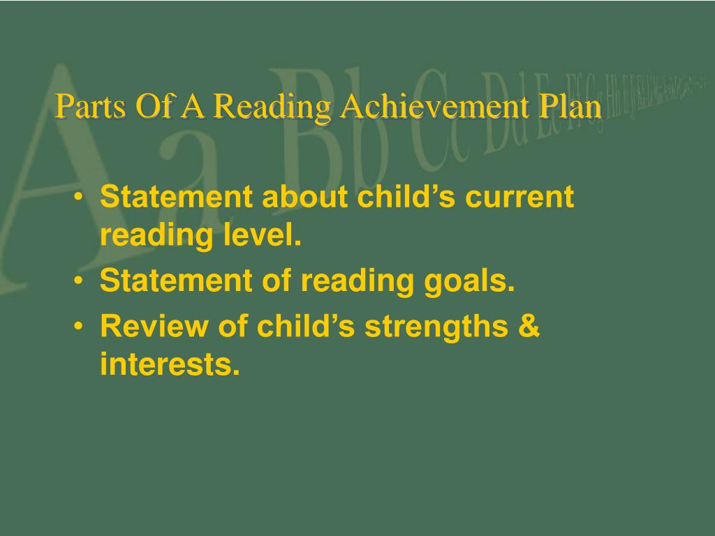Parts Of A Reading Achievement Plan