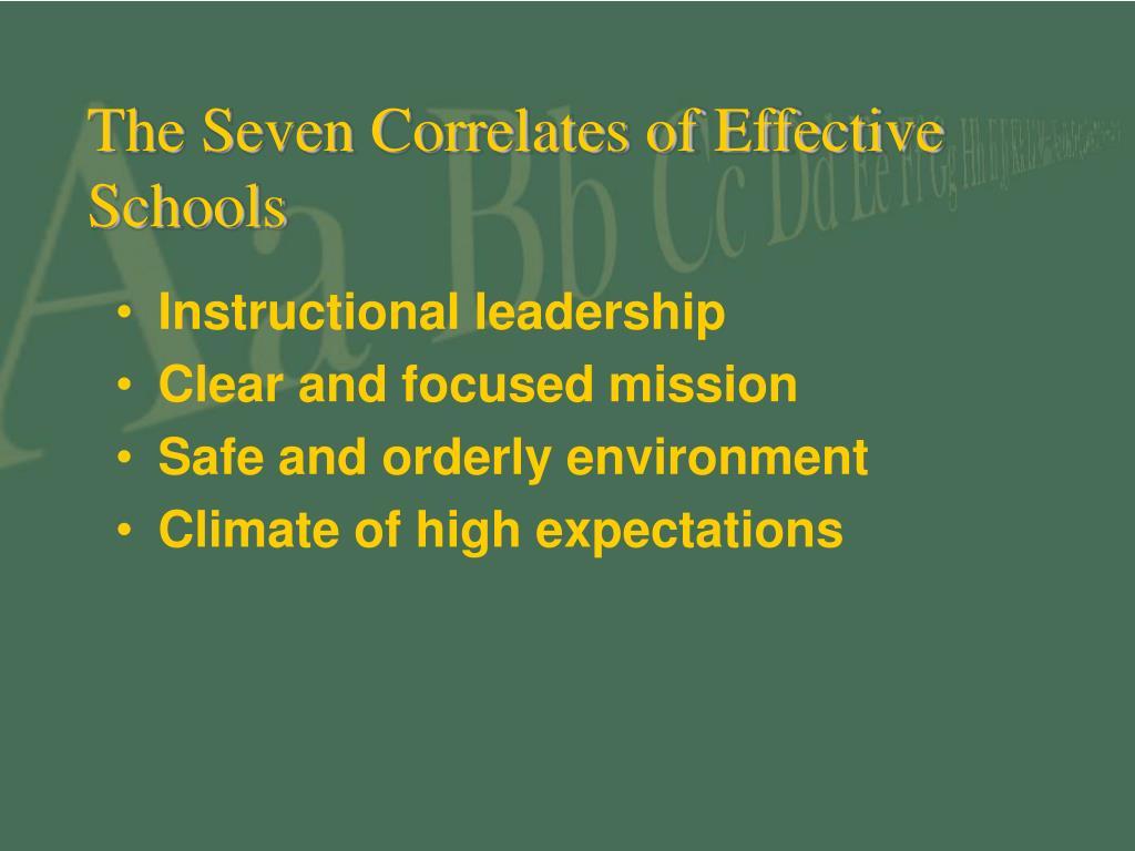 The Seven Correlates of Effective Schools