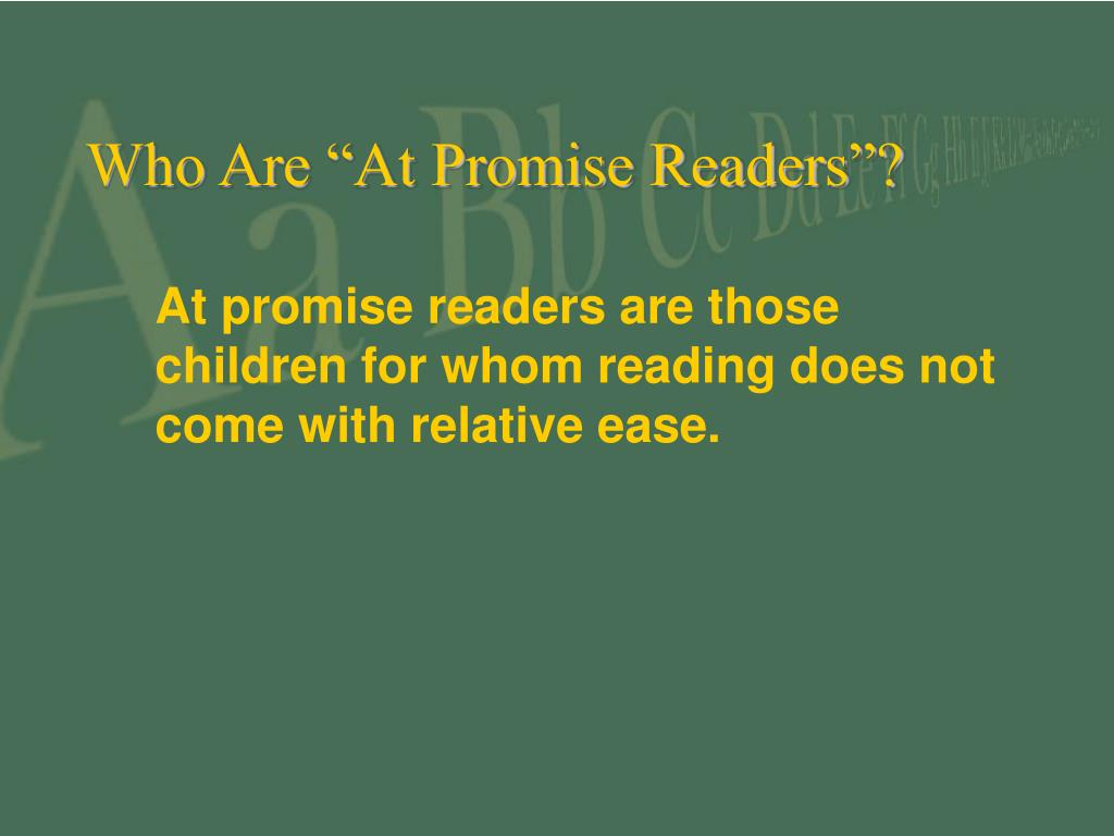 "Who Are ""At Promise Readers""?"