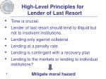 high level principles for lender of last resort