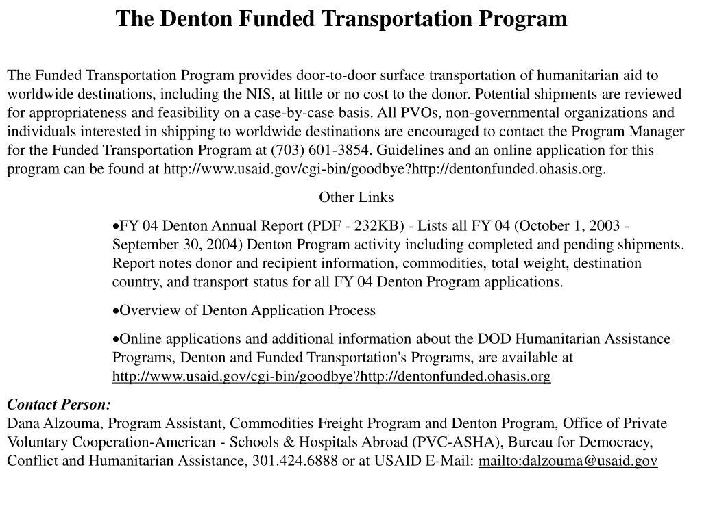 The Denton Funded Transportation Program