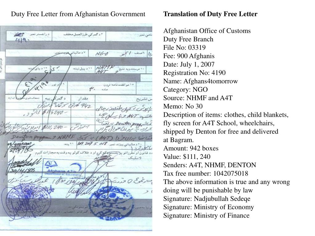 Duty Free Letter from Afghanistan Government
