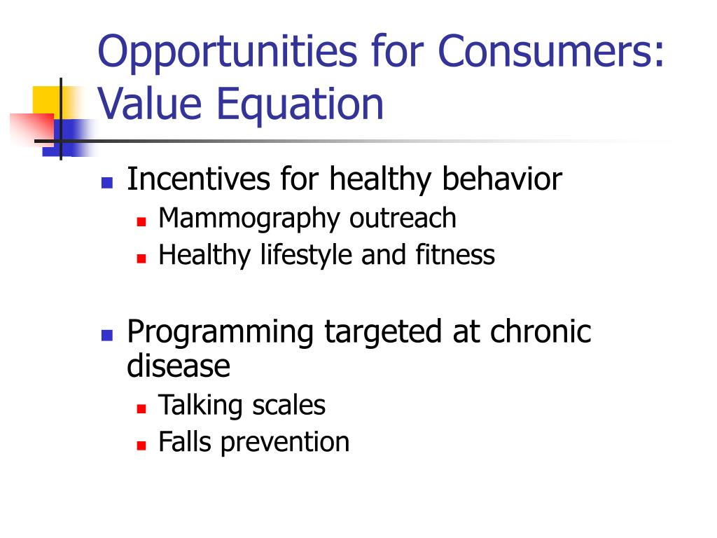 Opportunities for Consumers: Value Equation