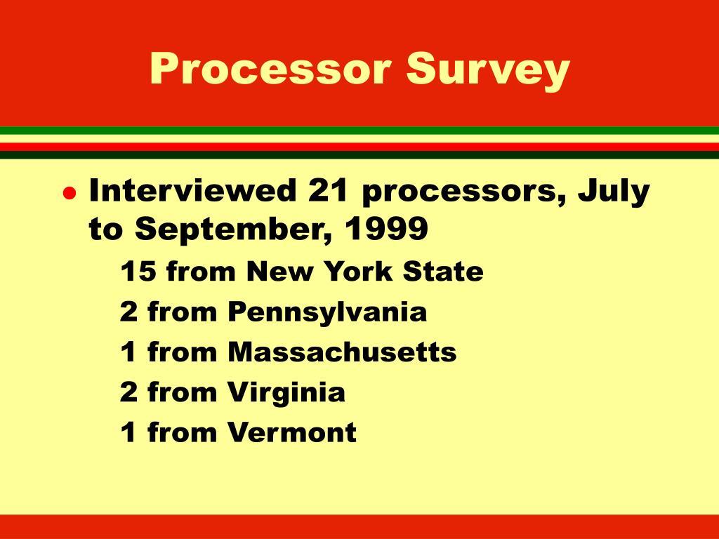 Processor Survey