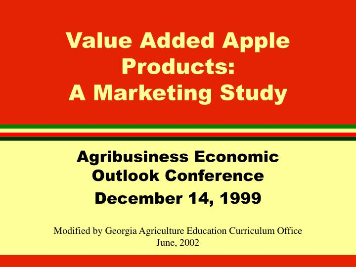 Value added apple products a marketing study