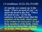 1 corinthians 12 21 23a nasb