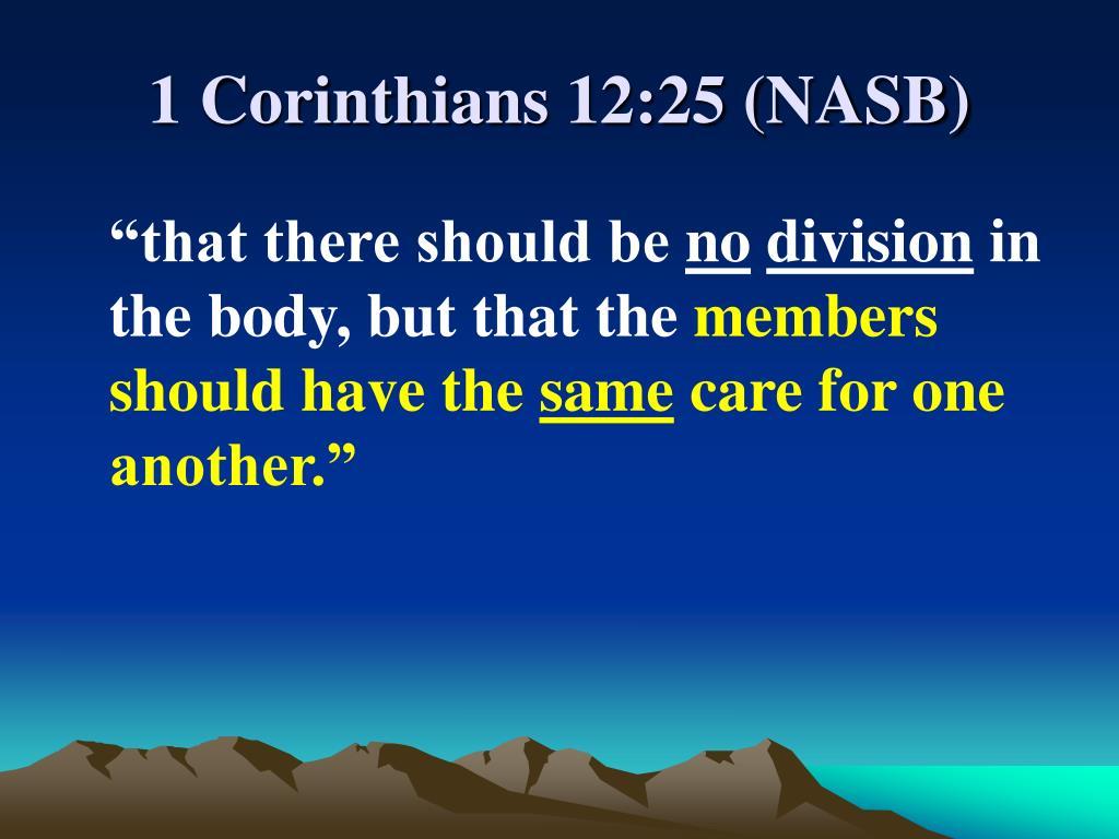 1 Corinthians 12:25 (NASB)