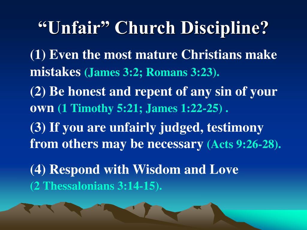 """""""Unfair"""" Church Discipline?"""