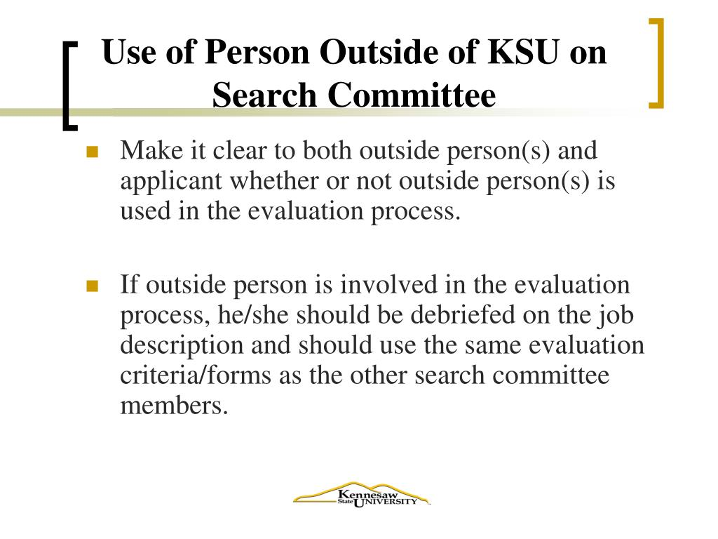 Use of Person Outside of KSU on Search Committee