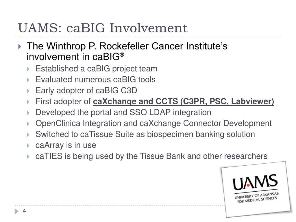 The Winthrop P. Rockefeller Cancer Institute's involvement in caBIG