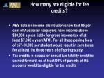how many are eligible for fee credits