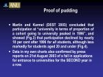 proof of pudding