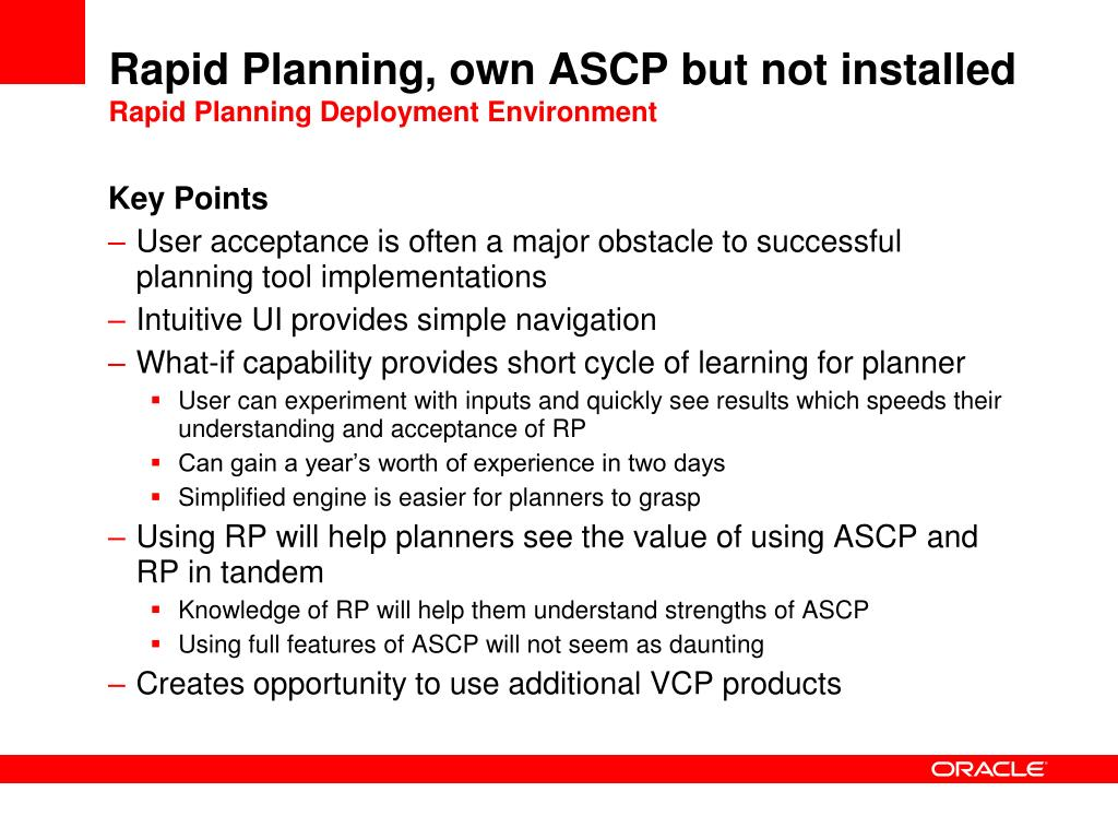 Rapid Planning, own ASCP but not installed