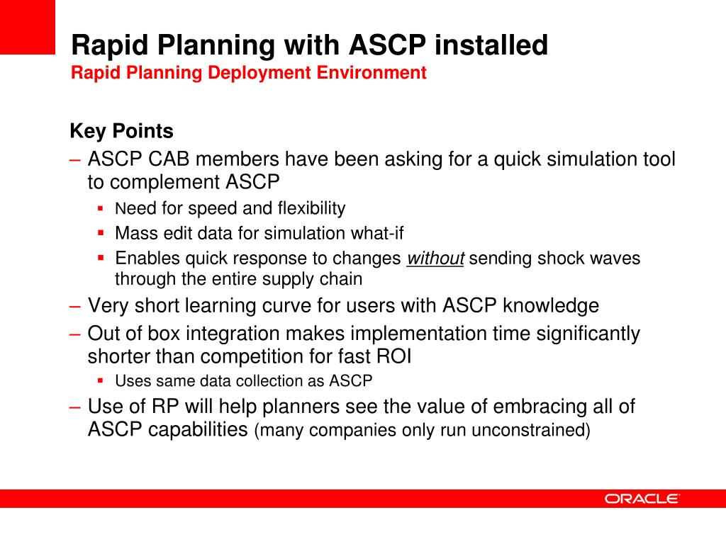 Rapid Planning with ASCP installed