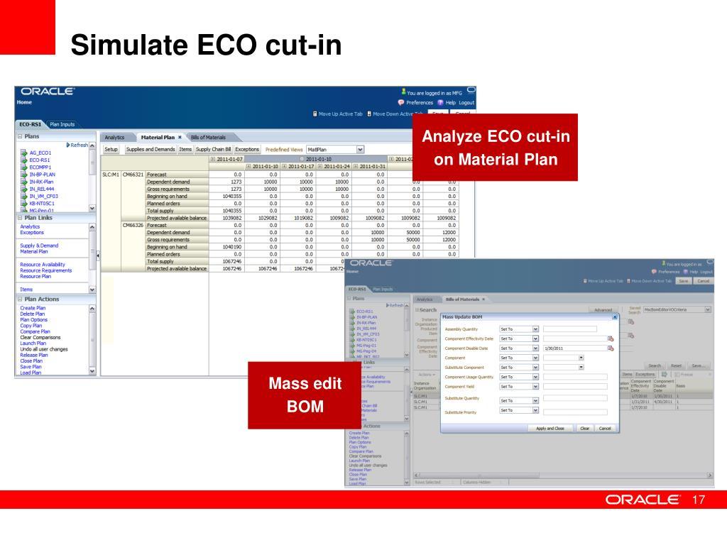 Simulate ECO cut-in