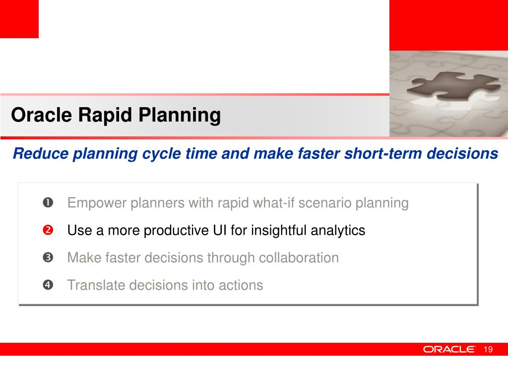 Oracle Rapid Planning