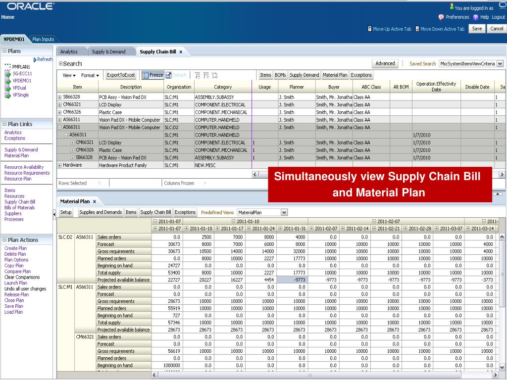 Simultaneously view Supply Chain Bill