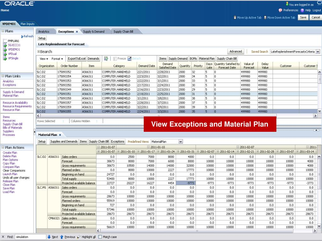 View Exceptions and Material Plan