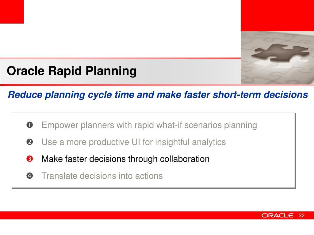 Oracle Rapid Planning