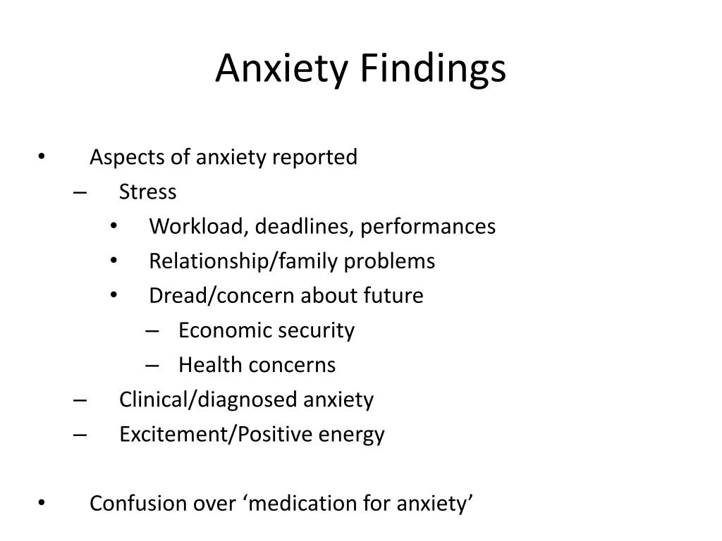 Anxiety Findings