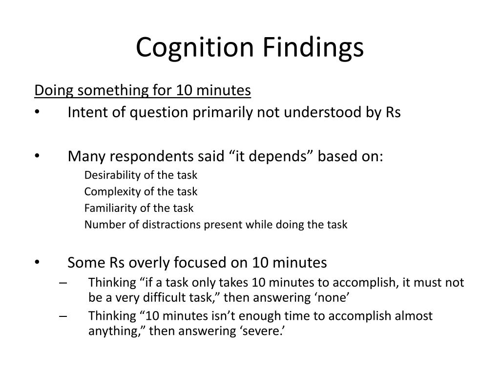 Cognition Findings