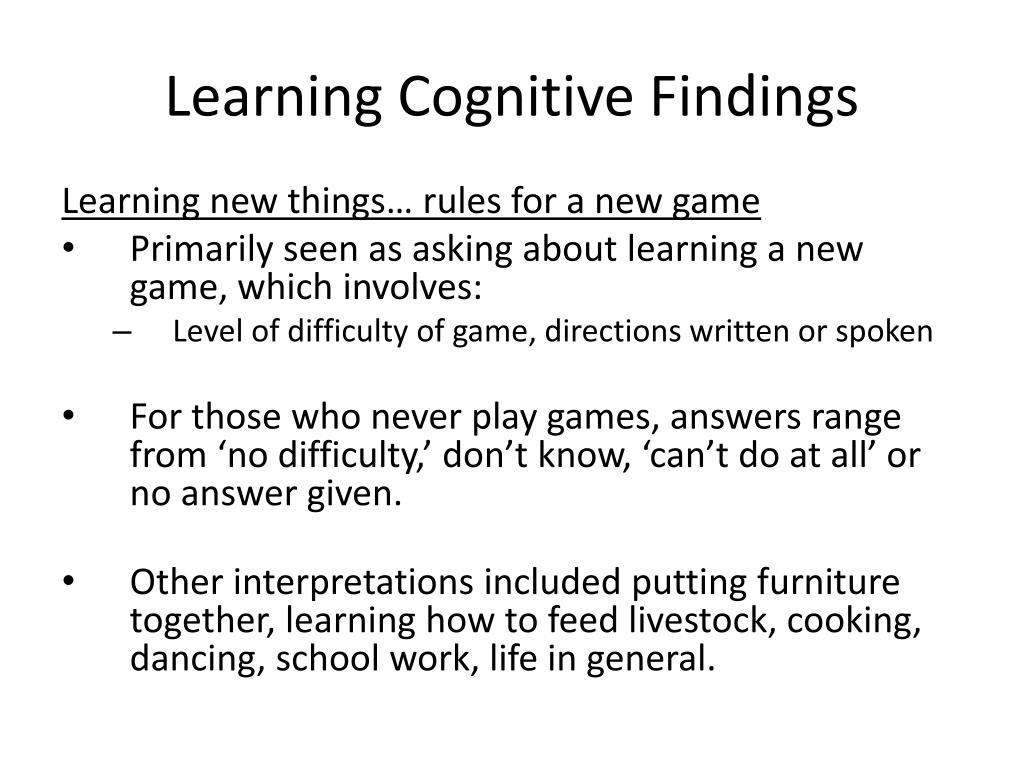 Learning Cognitive Findings