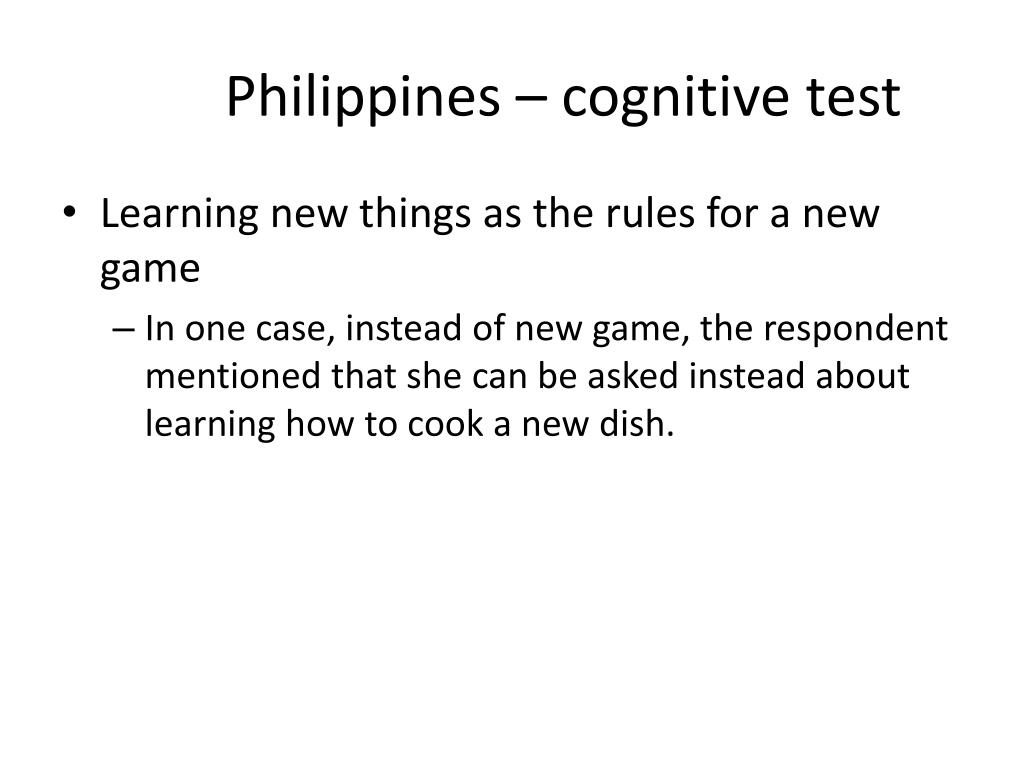 Philippines – cognitive test