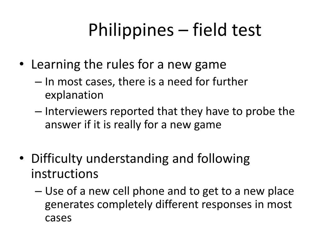 Philippines – field test