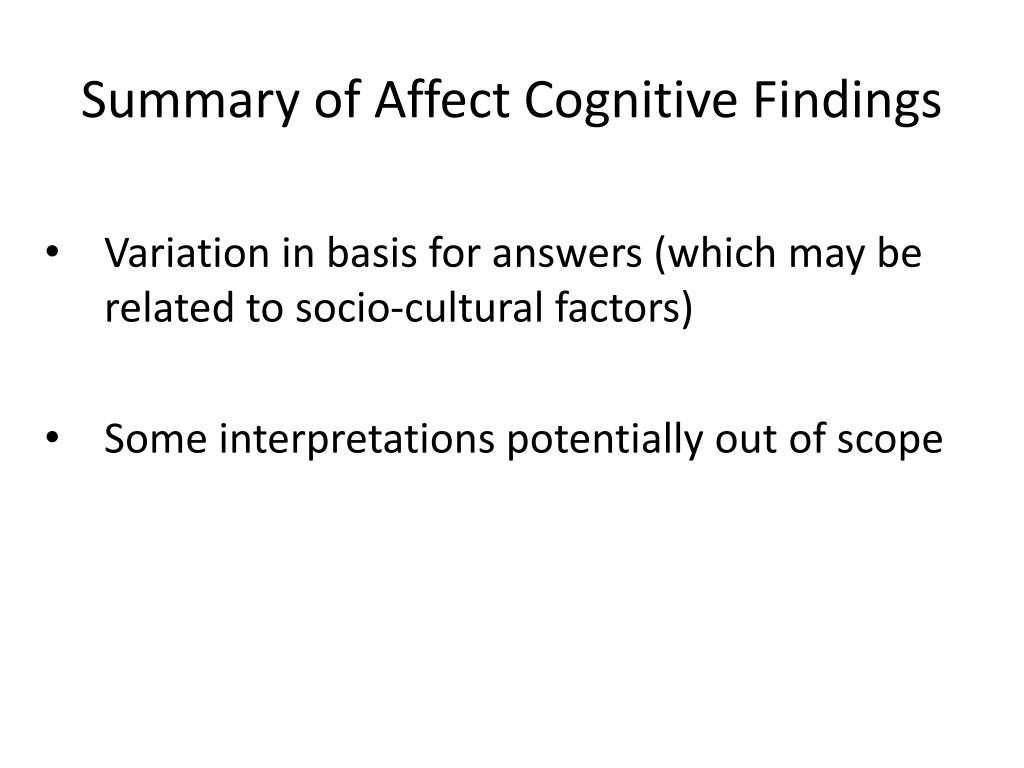 Summary of Affect Cognitive Findings