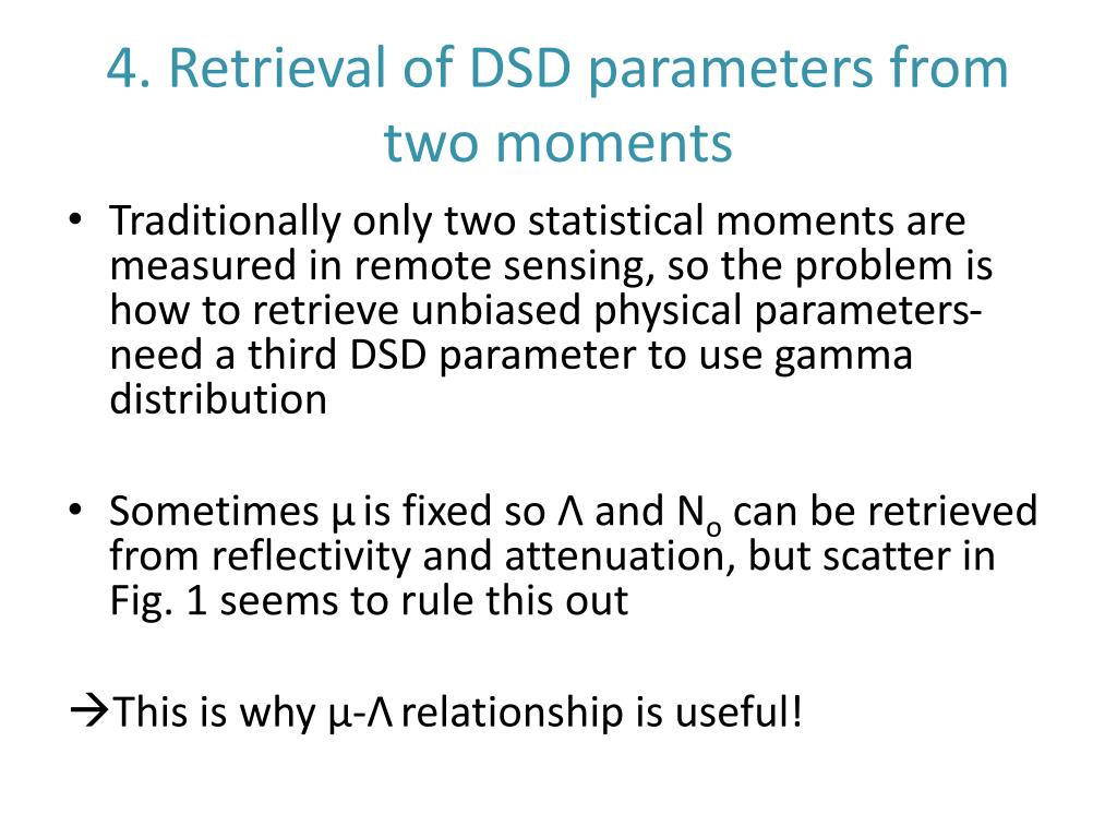 4. Retrieval of DSD parameters from two moments