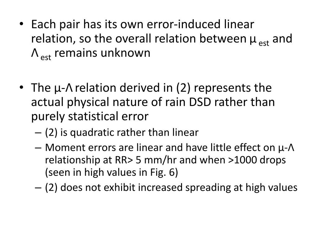 Each pair has its own error-induced linear relation, so the overall relation between
