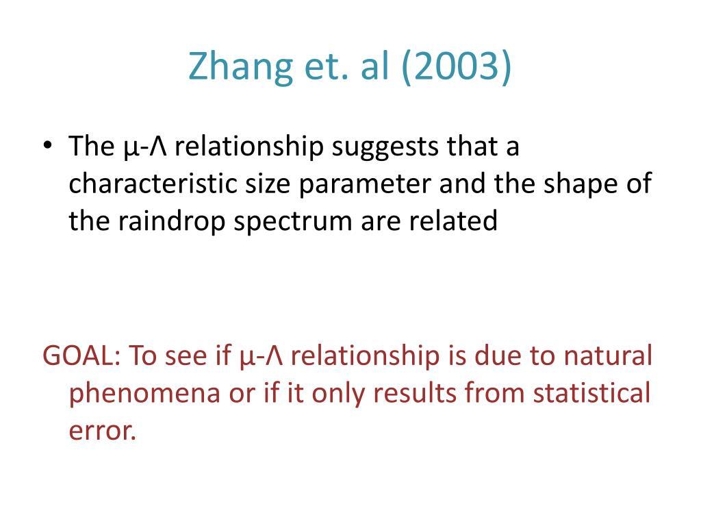 Zhang et. al (2003)