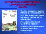 why develop an institutional compliance program benefits22