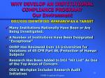 why develop an institutional compliance program our environment20