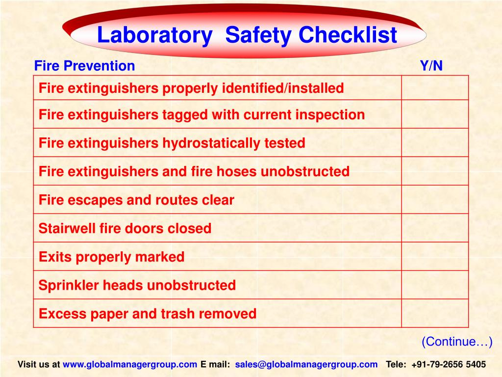 Laboratory  Safety Checklist