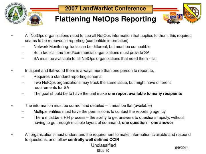 All NetOps organizations need to see all NetOps information that applies to them, this requires seams to be removed in reporting (compatible information)