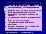 planned changes to iso 9001 2008