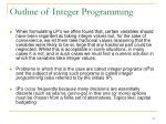 outline of integer programming