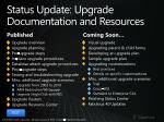 status update upgrade documentation and resources
