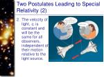 two postulates leading to special relativity 2