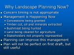 why landscape planning now