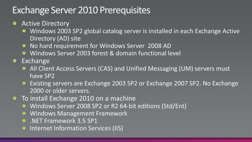 Exchange Server 2010 Prerequisites